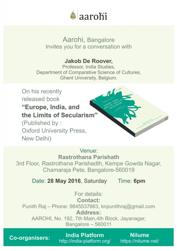 "Invitation discussion ""Europe, India and the Limits of Secularism"""